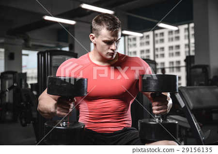 young man train in gym healthcare lifestyle sexy caucasian man 29156135