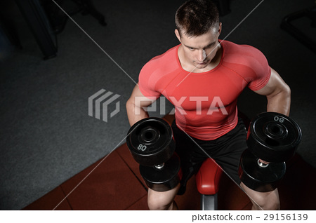 young man train in gym healthcare lifestyle sexy caucasian man 29156139