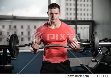 young man train in gym healthcare lifestyle sexy caucasian man 29156144