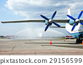 Water Salute for first flight in airport. 29156599