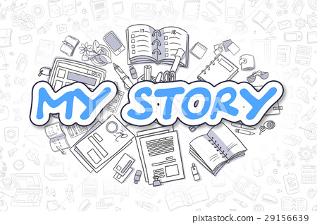 My Story - Doodle Blue Inscription. Business 29156639