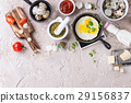 Breakfast with fried quail eggs 29156837