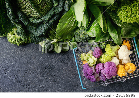 Green salads, cabbage, colorful veggies 29156898