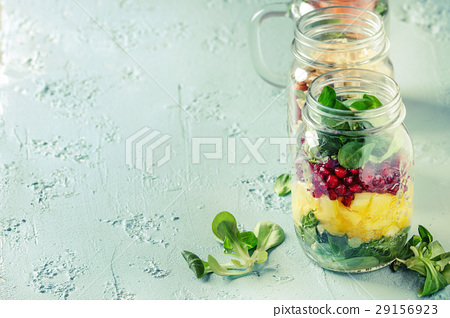 Salads in mason jars 29156923
