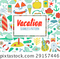 Summer vacation set doodle elements, seamless 29157446