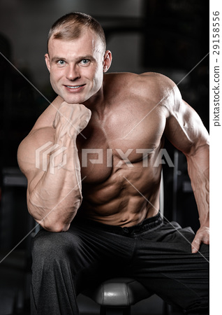 young man train in gym healthcare lifestyle sexy caucasian man 29158556