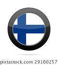 Flag of Finland. Shiny black round button. 29160257