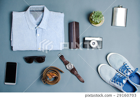 Male clothes and fashion accessories flatlay 29160703