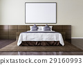 Blank picture frame on the wall in the bedroom 29160993