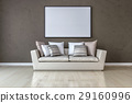 White canvas on the wall in the living room 29160996