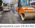 Road roller compacting asphalt 29161462