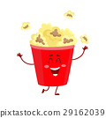 Funny cinema popcorn bucket character with smiling 29162039