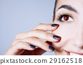 Beautiful glamour young woman with black nails and gold eyeshado 29162518