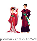 Japanese geisha and samurai in traditional kimono 29162529