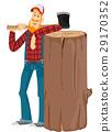 Man Lumberjack Axe Log 29170352