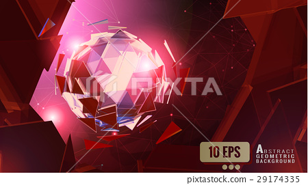 Abstract polygonal triangle sphere on red BG 29174335
