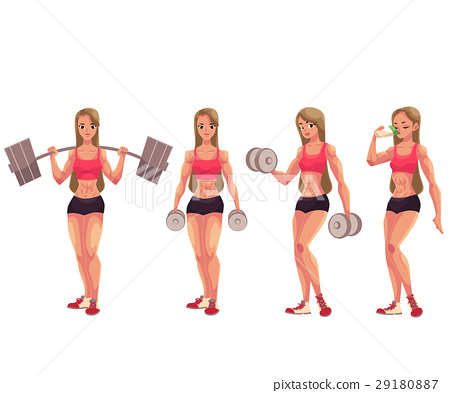 Young woman, female bodybuilder working out 29180887