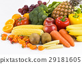 Fresh fruits and vegetables on white background 29181605