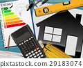 Energy Efficiency Rating with Calculator and House 29183074