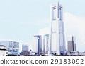 관광 및 부동산 이미지로 사용할 요코하마 미나토 미라이의 리얼 터치의 일러스트 배경 자료 29183092