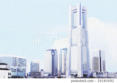 Illustration of real touch of Yokohama Minato Mirai that can be used for sightseeing and real estate image Background material 29183092