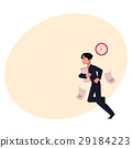 Businessman hurrying to work holding papers 29184223
