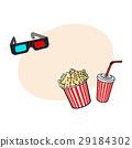 cinema, popcorn, glasses 29184302