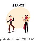 Two French mimes in traditional costumes, wine and 29184326