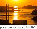 鍋冠山から女神大橋の夕陽の眺め 29186023