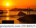 鍋冠山から女神大橋の夕陽の眺め 29186025