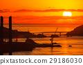 鍋冠山から女神大橋の夕陽の眺め 29186030