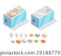 Frozen Products in Store Fridge Isometric Vector 29188770