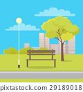 Bench in City Park Flat Vector Illustration 29189018