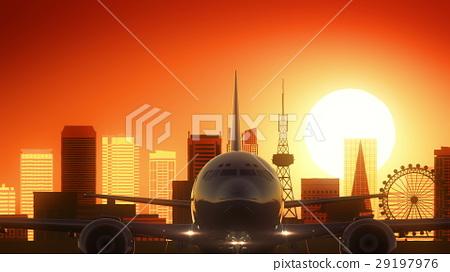 Nagoya Japan Airplane Take Off Skyline Golden 29197976