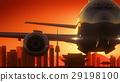 Seoul South Korea Airplane Take Off Skyline Golden 29198100