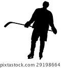 Silhouette of hockey player. Isolated on white. 29198664