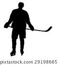 Silhouette of hockey player. Isolated on white 29198665