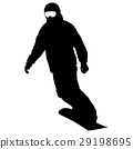 Black silhouettes snowboarders on white background 29198695