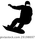 Black silhouettes snowboarders on white background 29198697