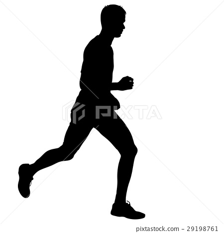 Silhouettes. Runners on sprint, men.  29198761