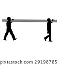 Silhouette of two construction workers carry pipe. 29198785