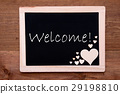 Blackboard With Wooden Hearts, Text Welcome 29198810