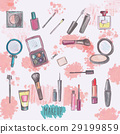 Makeup products set. Hand drawn Illustration 29199859