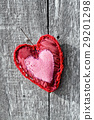 red heart on wooden board background 29201298