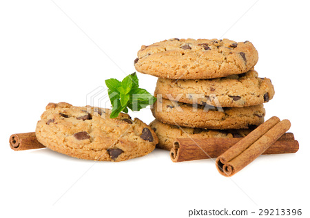 Chocolate cookies with mint leaves 29213396