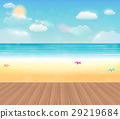 bright sea beach with a real wood floor 29219684