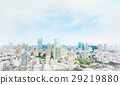 Tokyo city bird eye view mix sketch illustration 29219880