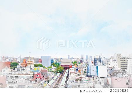 Tokyo city bird eye view mix sketch illustration 29219885