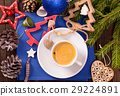 Coffee cup and Christmas decorations top view 29224891