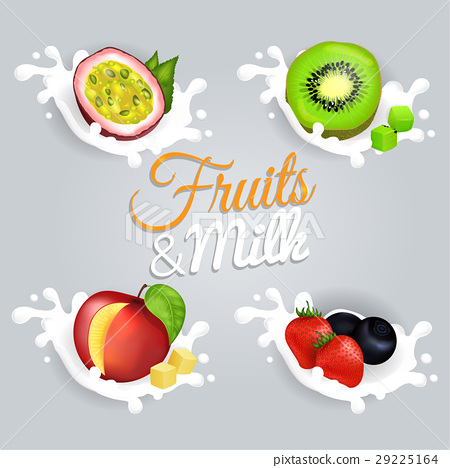 Fruit Splashing in Milk Colorful Vector Poster 29225164
